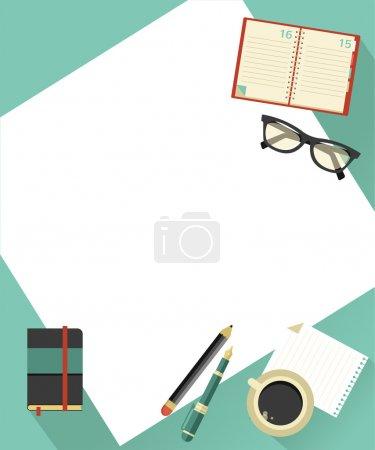 Ilustración de Fondo de negocios con café, papel, cuaderno, gafas, ilustración vectorial - Imagen libre de derechos
