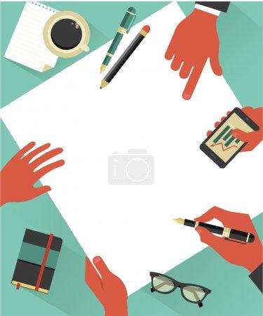 Ilustración de Antecedentes de la reunión de negocios con las manos, papel, cuaderno, gafas, vector illustration - Imagen libre de derechos