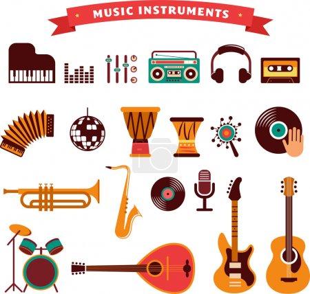 Illustration pour Instruments de musique, illustrations vectorielles, icônes plates et ensemble d'éléments - image libre de droit