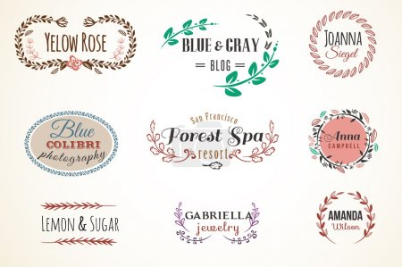 Illustration for Floral Frame and Name Collection. Set of retro frames as wreath -  perfect for invitations, birthday cards, photographer signature - Royalty Free Image
