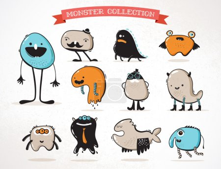 cute monsters, set of vector illustrations