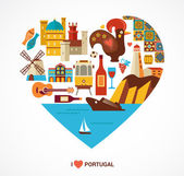 Portugal love - heart with vector icons and illustration tourism and travel concept