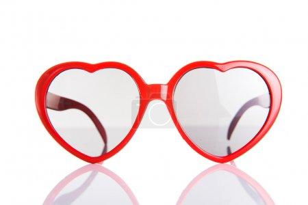 Red heart shaped plastic glasses