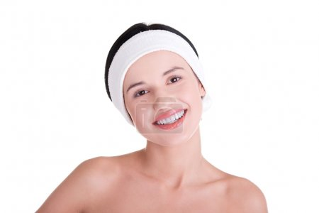 Beautiful young woman ready for skin treatment.