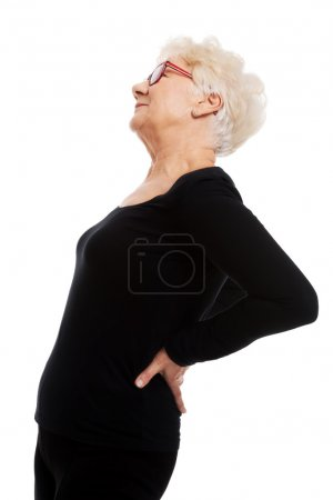 An old woman having a back pain.