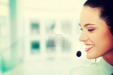 Photo for Call center woman with headset. - Royalty Free Image