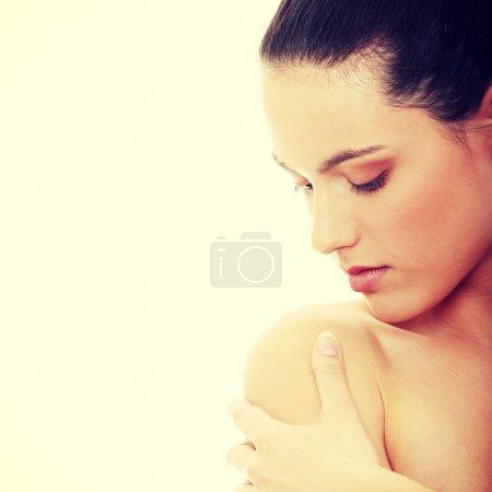 Foto de Mujer joven spa aislada sobre fondo blanco - Imagen libre de derechos