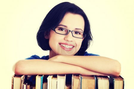 Photo for Happy smiling young student woman with books. - Royalty Free Image