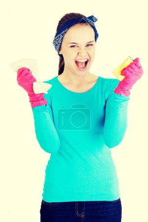 Cleaning woman screaming