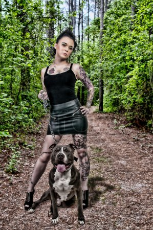 Beautiful Woman and Pit Bull