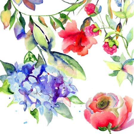 Photo pour Fleurs d'été belle, illustration aquarelle - image libre de droit