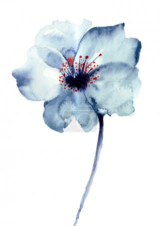 Photo for Decorative blue flower, watercolor illustration - Royalty Free Image