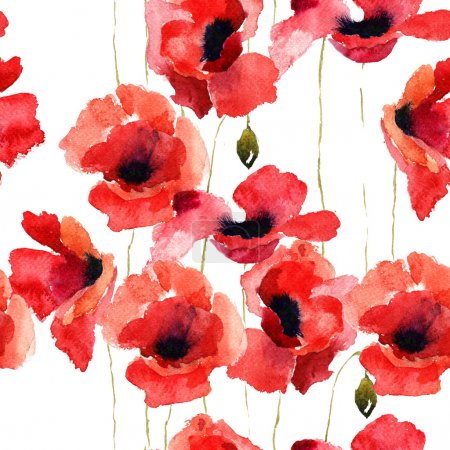 Photo for Stylized Poppy flowers illustration, seamless pattern - Royalty Free Image