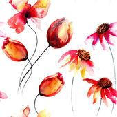 Bezešvé vzor s původní červené květy