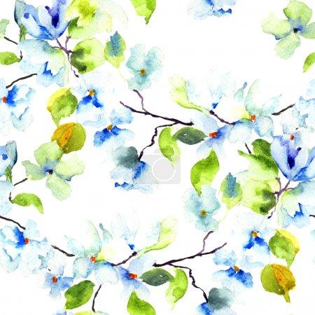 Photo pour Modèle sans couture avec brunch floraison de l'arbre, illustration aquarelle - image libre de droit
