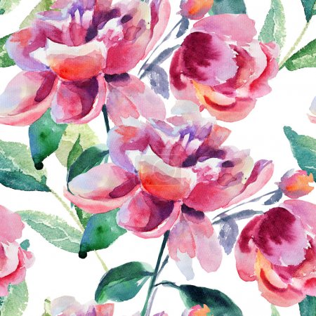 Photo for Seamless wallpaper with Beautiful Peony flower, Watercolor painting - Royalty Free Image