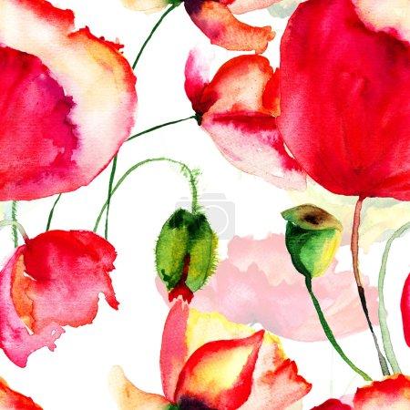 Photo pour Modèle sans couture avec des fleurs de pavot, illustration aquarelle - image libre de droit