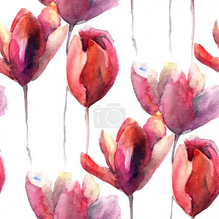 Photo for Seamless wallpaper with Tulips flowers, watercolor illustration - Royalty Free Image