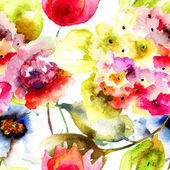 """Постер, картина, фотообои """"бесшовные обои с летними цветами"""""""