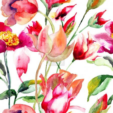 Photo pour Motif floral sans couture, illustration aquarelle - image libre de droit