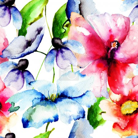 Photo for Beautiful flowers, Watercolor painting, seamless pattern - Royalty Free Image