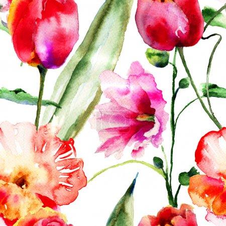Foto de Fondos de pantalla transparente con flores decorativas, Ilustración acuarela - Imagen libre de derechos