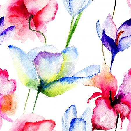 Photo pour Fond d'écran sans couture avec les fleurs de printemps, illustration aquarelle - image libre de droit