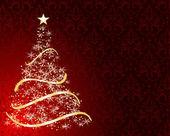 Stylized Christmas tree on decorative damask background