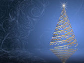 Stylized vector gold Christmas tree on decorative floral background