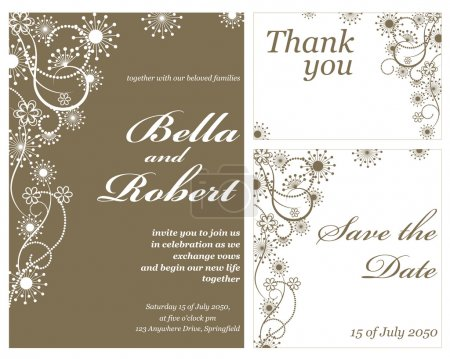 Wedding or invitation card. abstract vector flower pattern backg