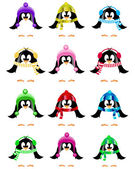 Set of cute vector little penguins collection