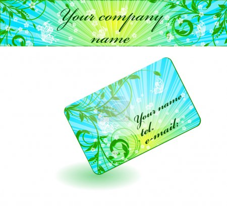 Vector butterfly flower visiting card and banner