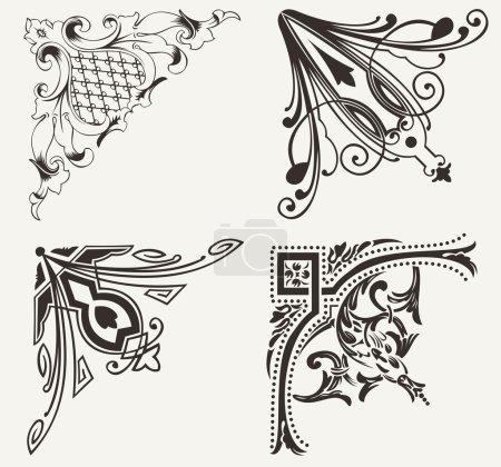 Set Of Four Hogh Ornate Corners. Elements Of Design.