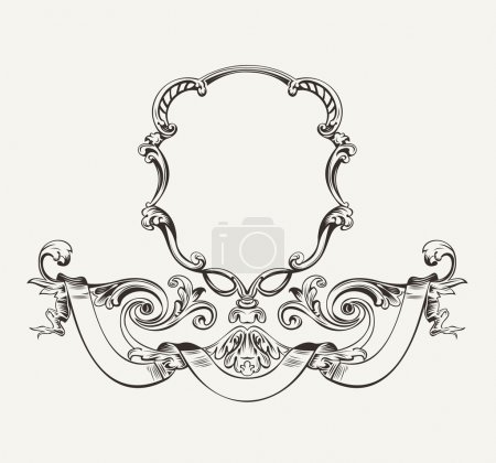 Illustration for Antique Luxury High Ornate Frame And Banner - Royalty Free Image