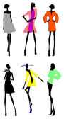 Six Fashion Girls Silhouette