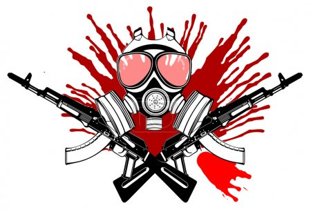 Illustration for Gas Mask, Gun And Blood. Vector Illustration. - Royalty Free Image