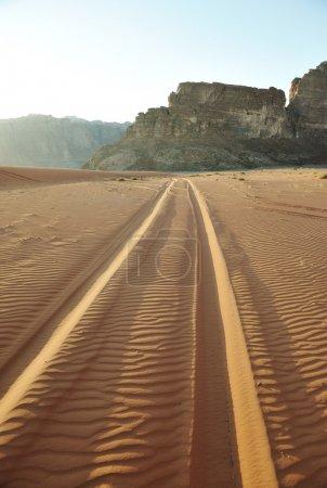Road in Desert of Wadi Rum in Jordan