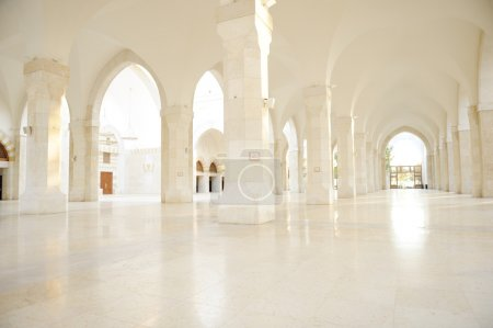 Madina mosque empty, conceptual indoor of oriental building. Fantastic background.