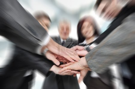 Group of business with hands together for unity and partn