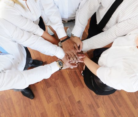 Closeup portrait of group of business with hands together