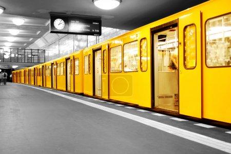 Photo for Black and white subway station Hermannplatz in Berlin Neukoelln, germany - Royalty Free Image