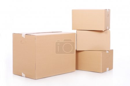 Photo for Pile of cardboard boxes over white background - Royalty Free Image