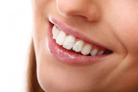 Photo for Beautiful smile close up with perfectly white teeth - Royalty Free Image