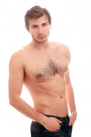 Sexy guy with naked torso over white background