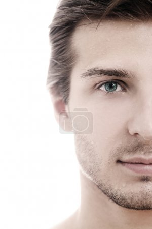 Charming and handsome man half face