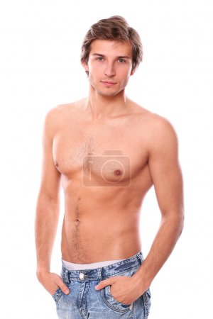 Sexy young man with naked torso isolated