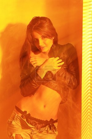 Golden light photo of sexual woman