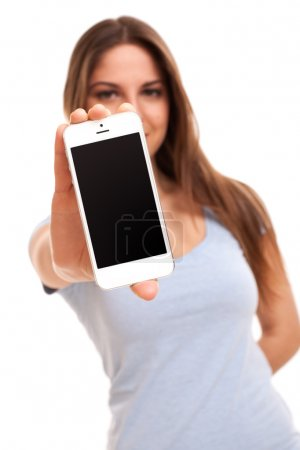 Young caucasian woman with smartphone