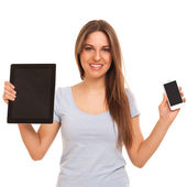 Young caucasian woman with devices