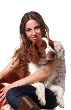 Beautiful caucasian woman with dog